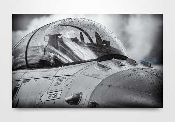 B&W Closeup of F16 Cockpit Wall Art Print