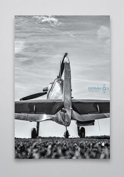 B&W Spitfire Rear View Wall Art Picture
