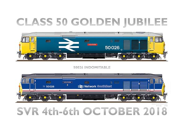 Class 50 50026 Indomitable in both liveries carried in preservation