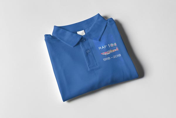 RAF 100 Anniversary Royal blue Spitfire 66 sqn polo