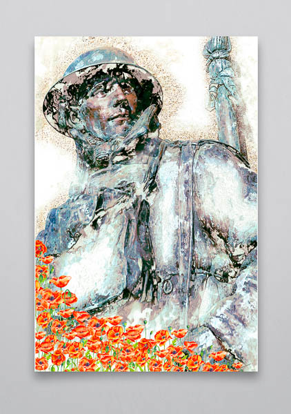 WW1 Soldier and Poppies Tribute Wall Art Print