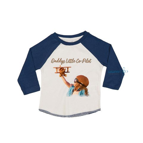 Daddys Little Co-Pilot Long Sleeve Baseball T-Shirt
