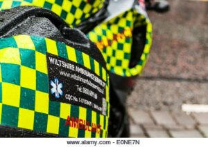 Wiltshire ambulance services motorbike at an event