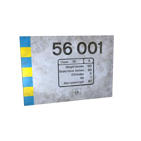 Class 56 56001 RF Construction Weathered Number and Data Panel Metal Sign