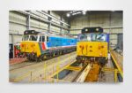 50017 Royal Oak and 50026 Indomitable Inside Kidderminster Depot Wall Art Print