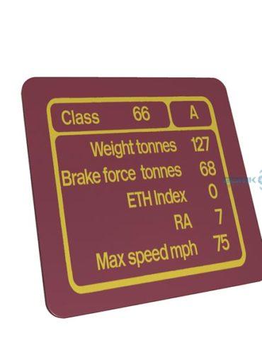 Class 66 EWS Red Data Panel Metal sign