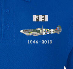 D-Day 75 RAF Spitfire Royal Blue Polo Detail