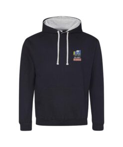 BR Blue Class 55 with Racehorse White Cabs Navy Blue Hoodie