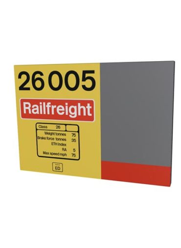 Class 26 26005 Data Panel Red Stripe Railfreight Metal sign