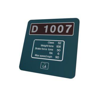 Class 52 D1007 BR Blue Data Panel Metal Sign