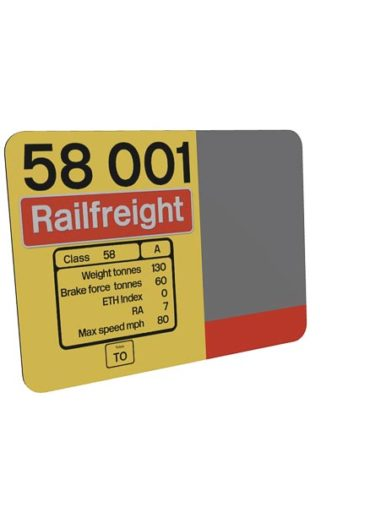 Class 58 58001 Data Panel Red Stripe Railfreight Metal sign