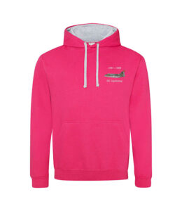 Classic British Aircraft Lightning Pink and Heather Grey Hoodie