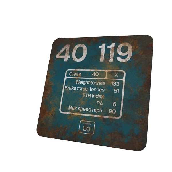 Class 40 40119 Flamecut Data Panel Coaster