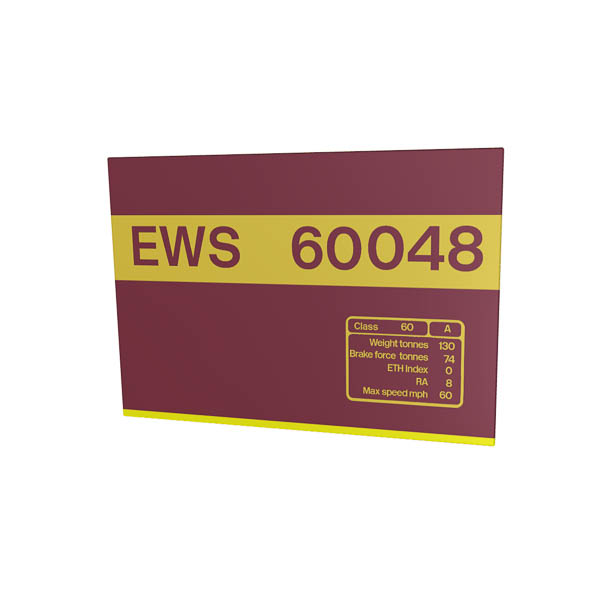 Class 60 60048 Data Panel metal sign EWS