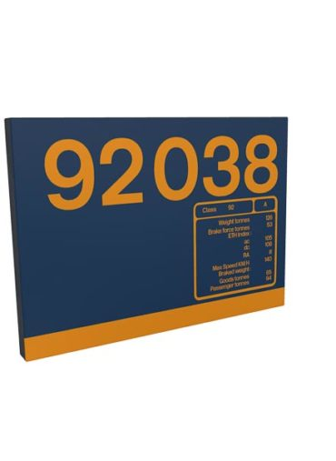 Class 92 92038 Data Panel metal sign GBRf