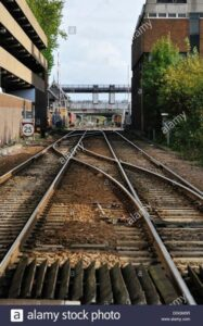 Looking along the track towards Lincoln railway station