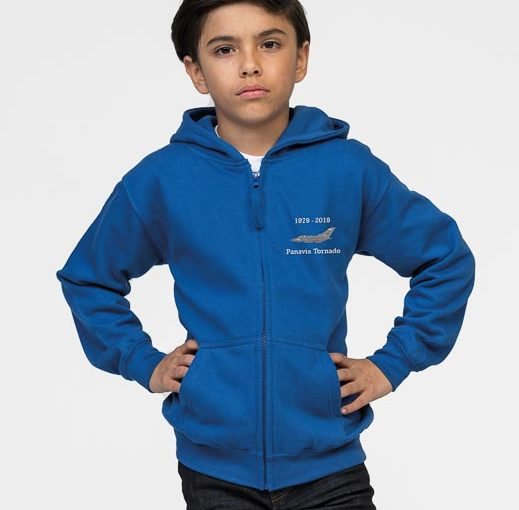 Childrens Zipped Hoodie Tornado Classic Military Aircraft